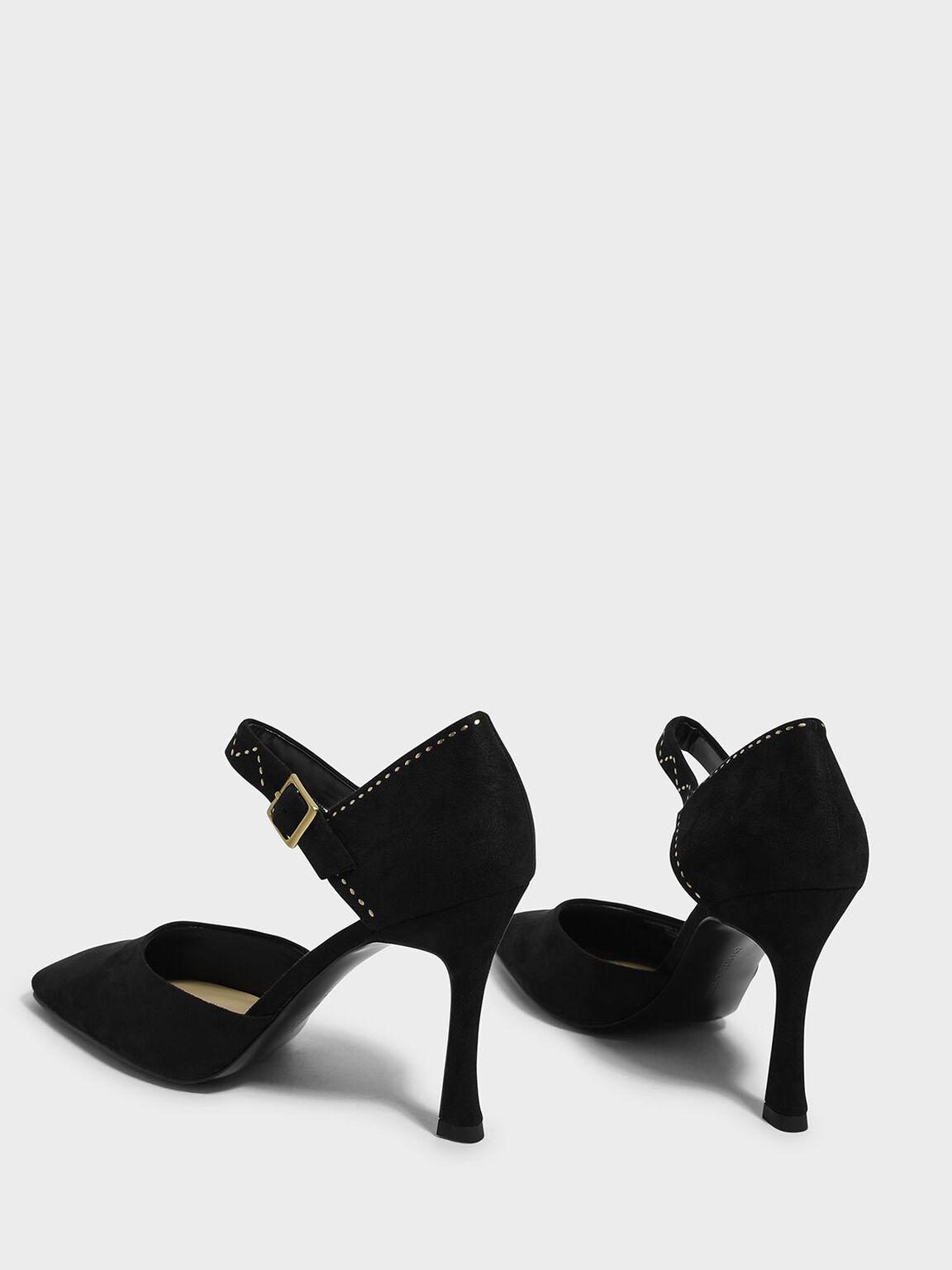 Embellished Sculptural Heel Mary Janes, Black, hi-res