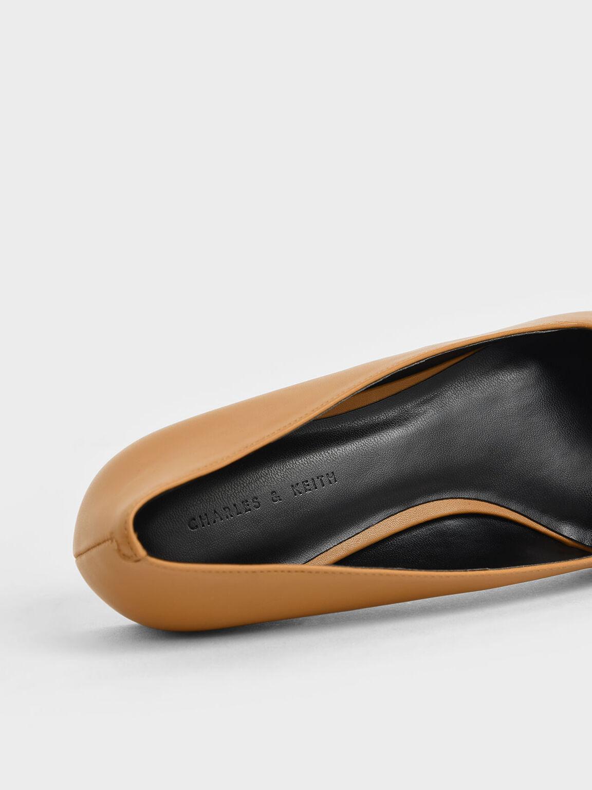 Button Detail Ballerina Flats, Caramel, hi-res