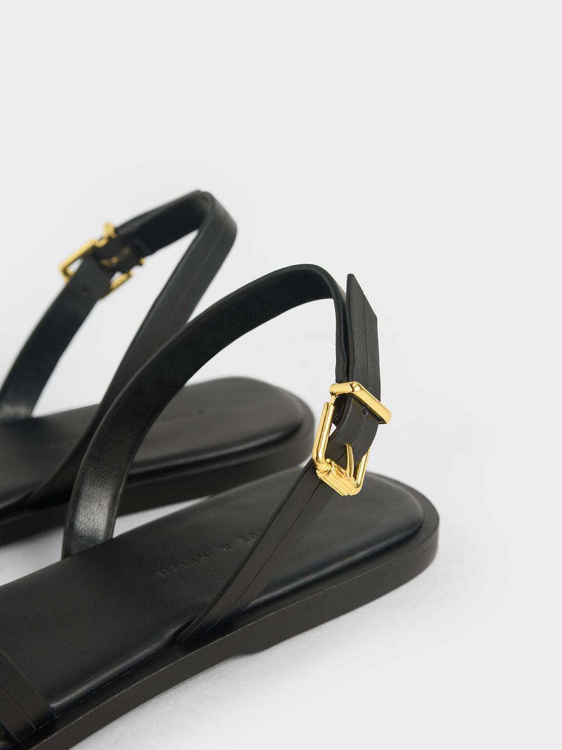 Double Strap Slingback Flats, Black, hi-res