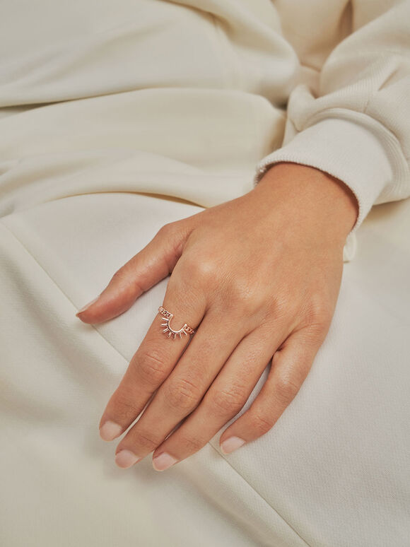 太陽細鍊戒指, 玫瑰金, hi-res