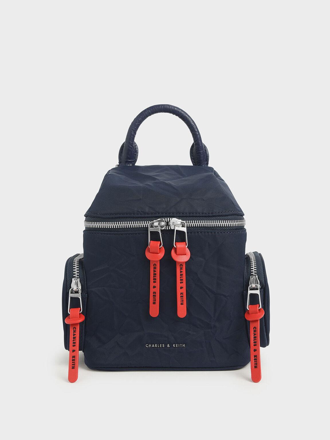 Nylon Two-Way Zip Backpack, Dark Blue, hi-res