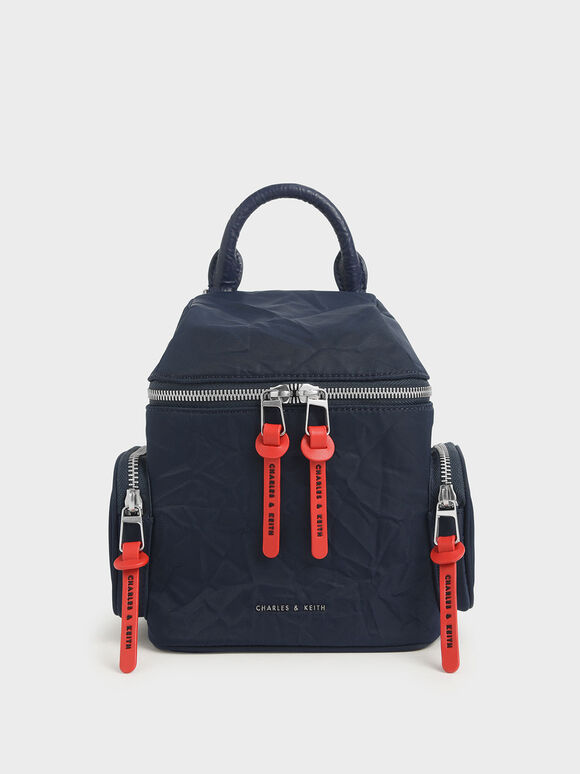 Nylon Two-Way Zip Backpack, Dark Blue, hi-res
