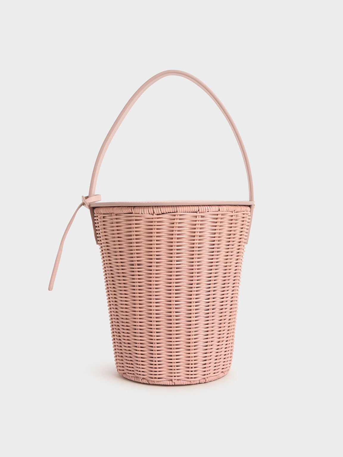 Rattan Cylindrical Top Handle Bag, Pink, hi-res