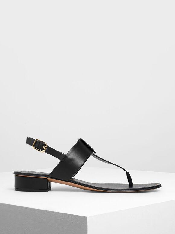Gold Button Accent Thong Sandals, Black, hi-res