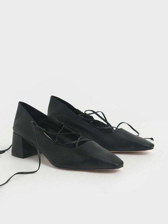 Ankle Tie Pumps, Black, hi-res