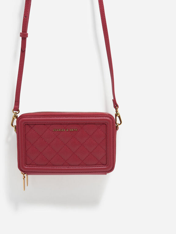 Quilted Long Wallet, Red