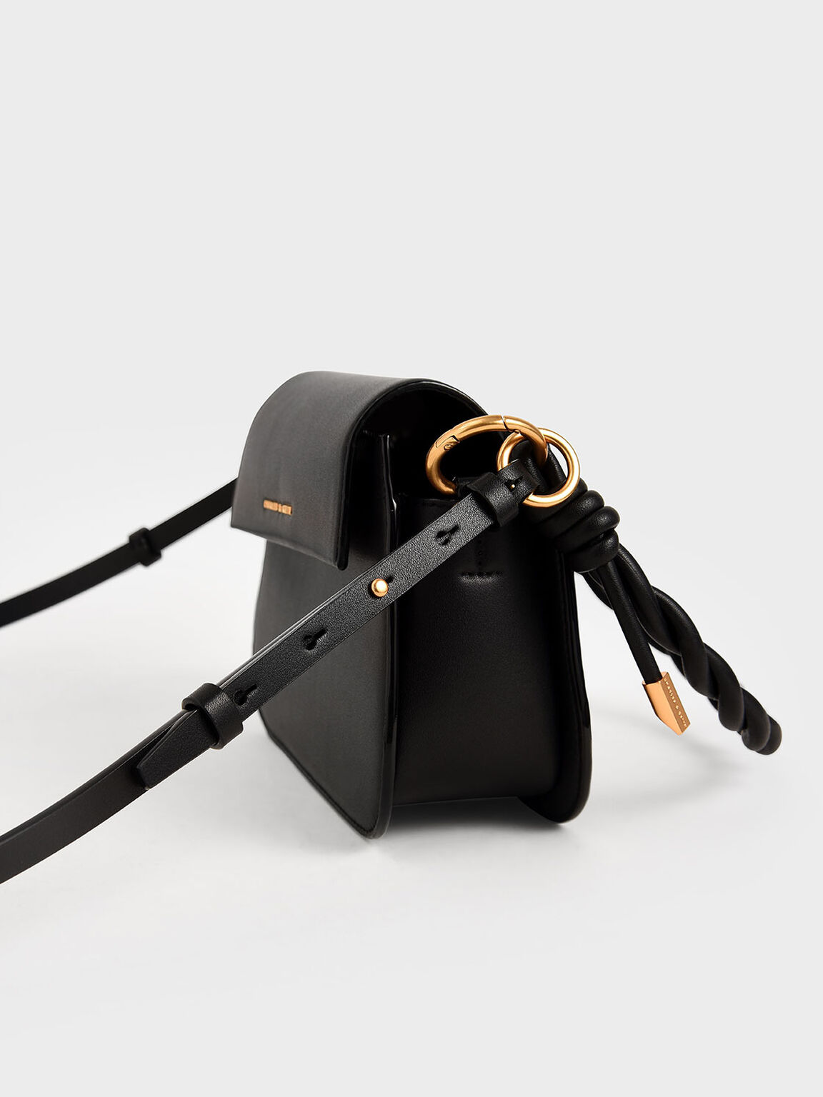 Twist Top Handle Bag, Black, hi-res