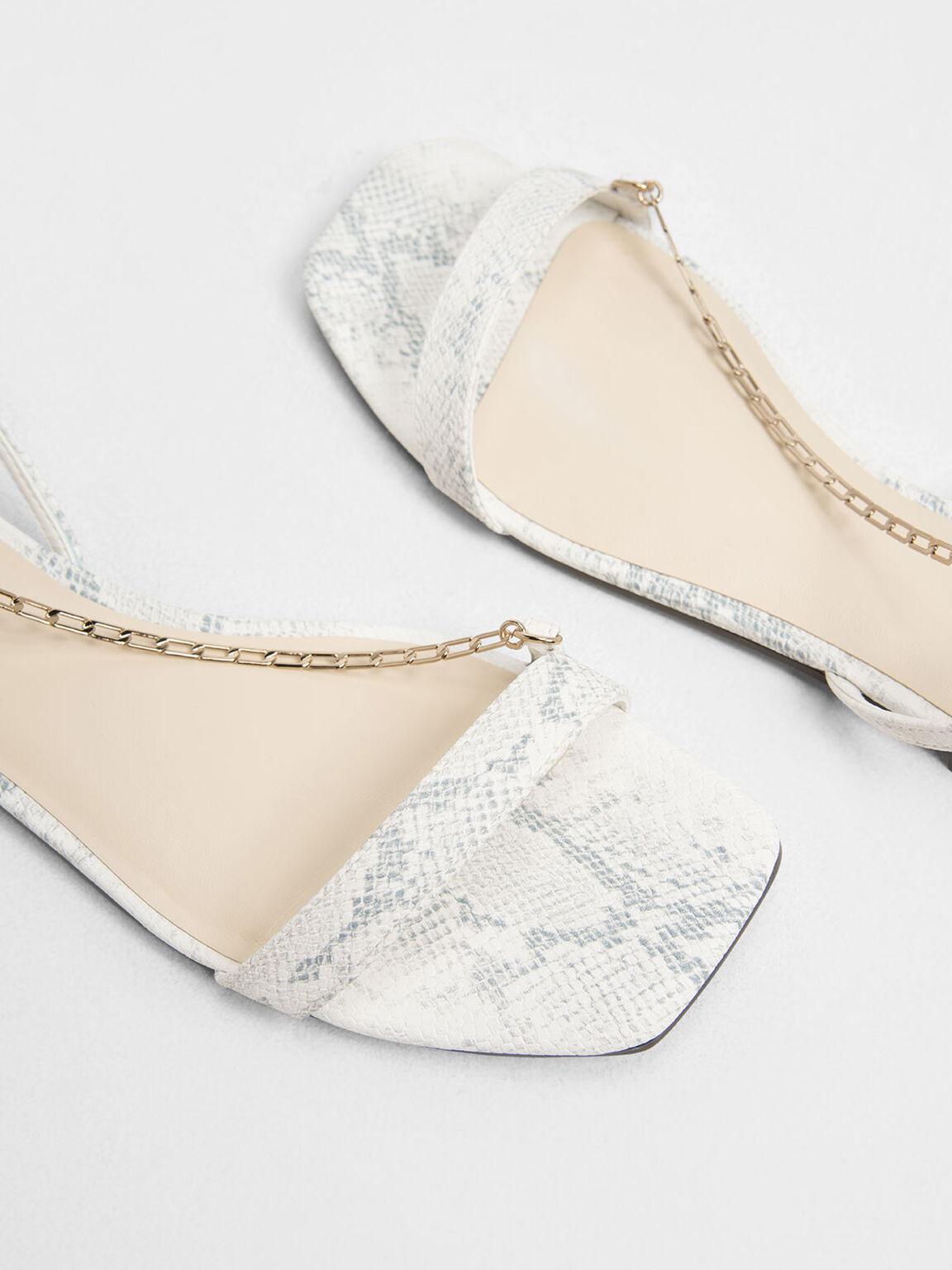Chain Strap Snake Print Sandals, White, hi-res