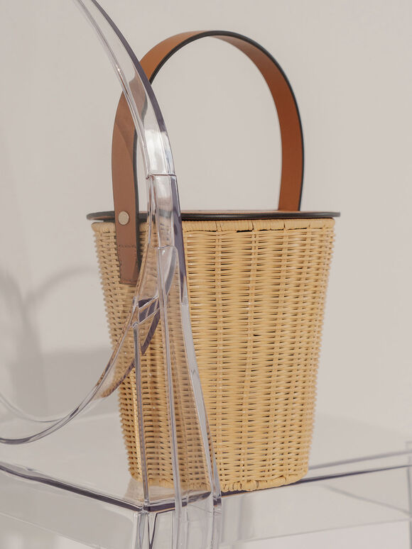 Rattan Cylindrical Top Handle Bag, Cognac, hi-res
