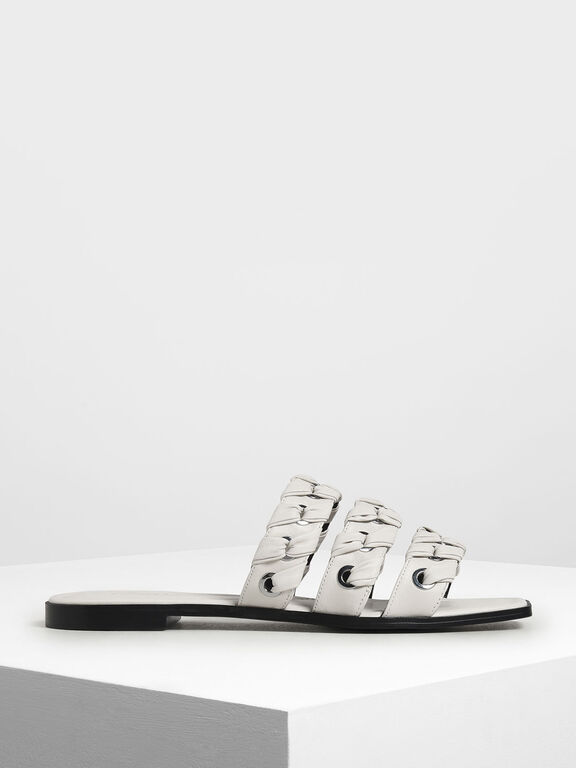 Weave Detail Leather Slide Sandals, Chalk