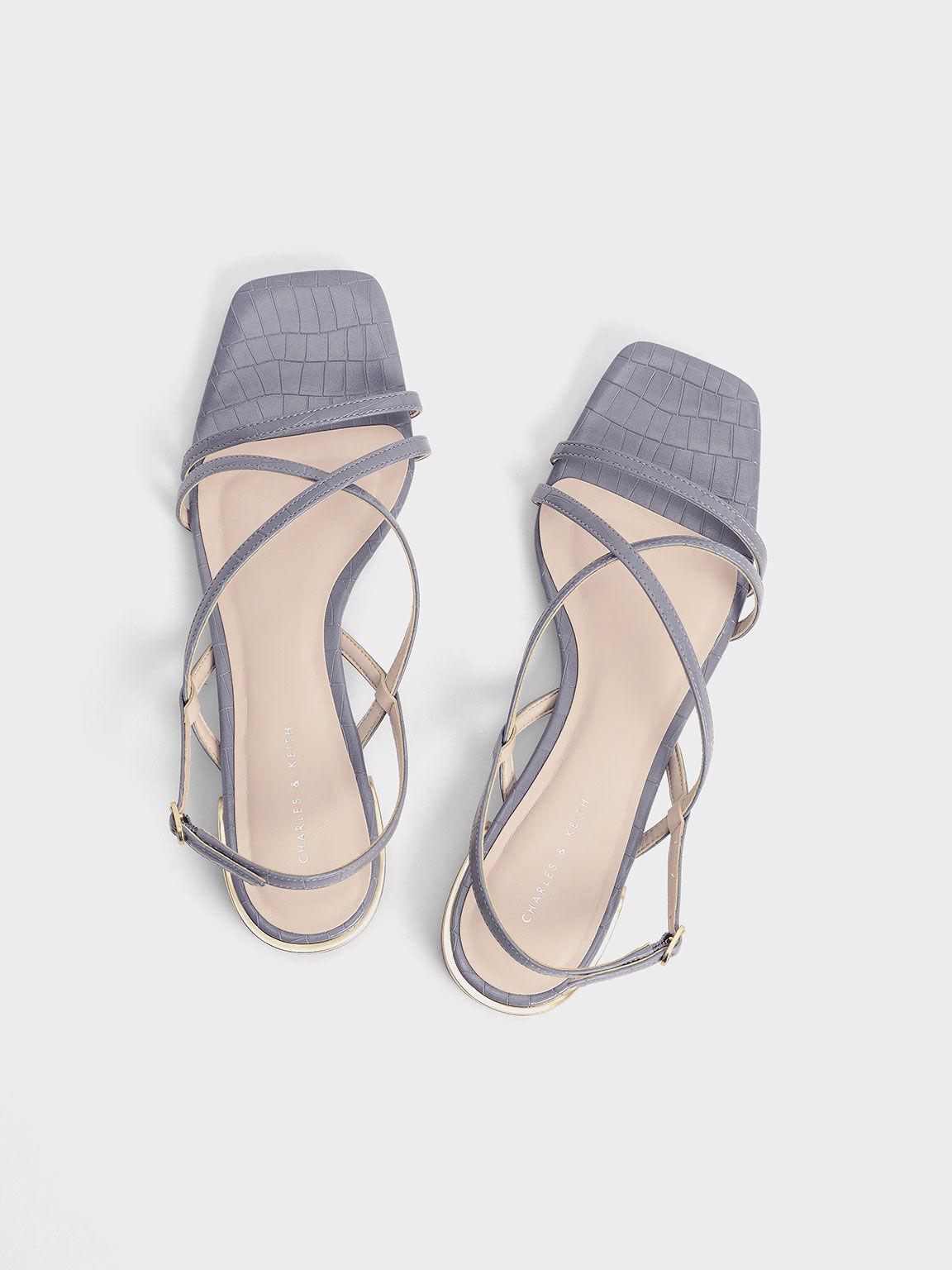 鱷魚紋方頭低跟涼鞋, 藍色動物紋, hi-res