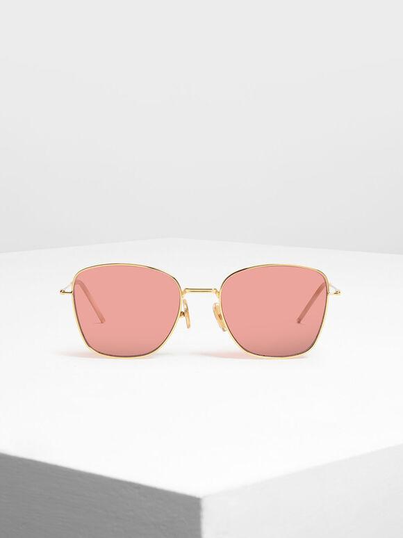 Classic Rectangular Sunglasses, Gold, hi-res