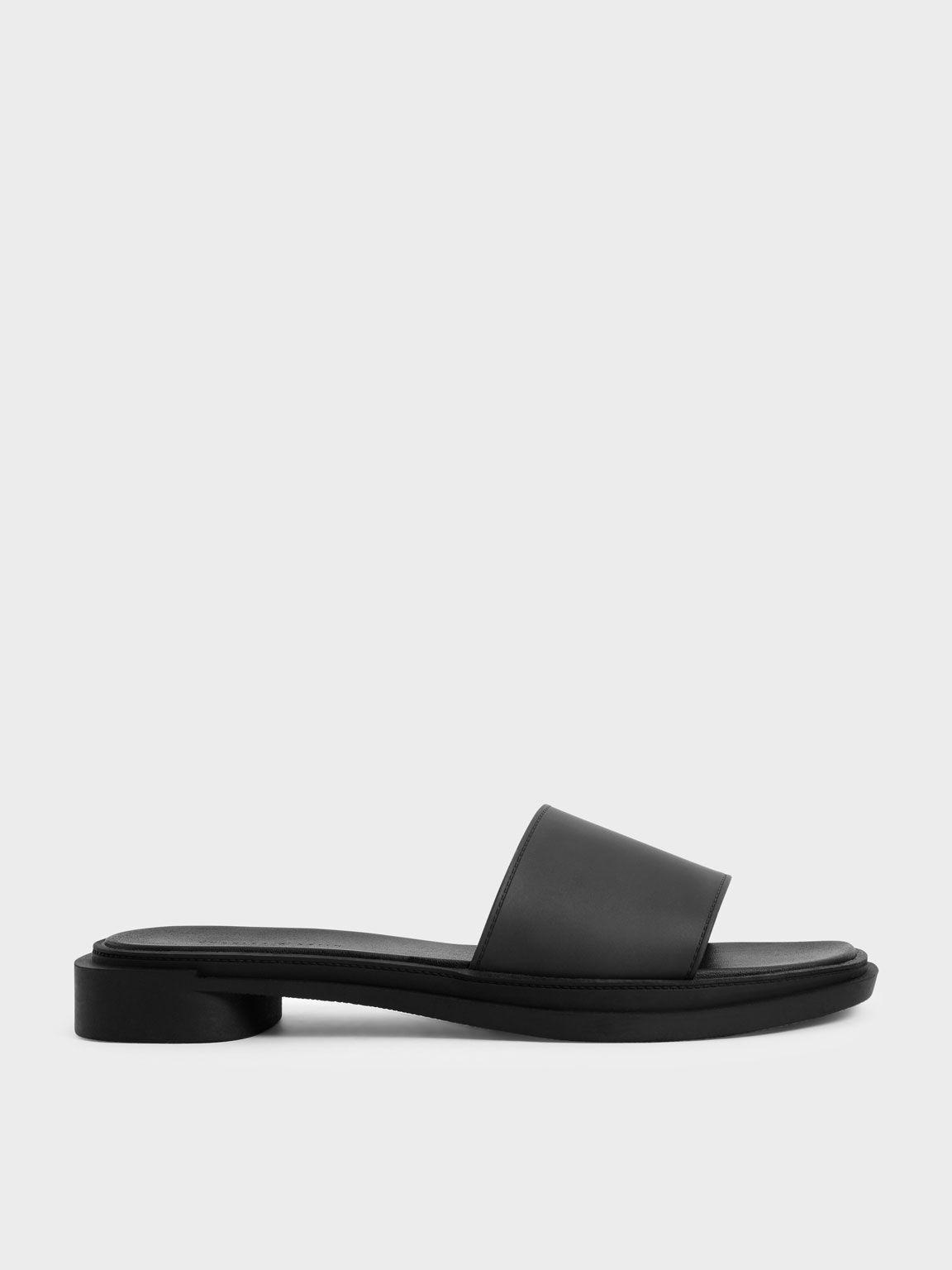極簡方頭拖鞋, 黑色, hi-res