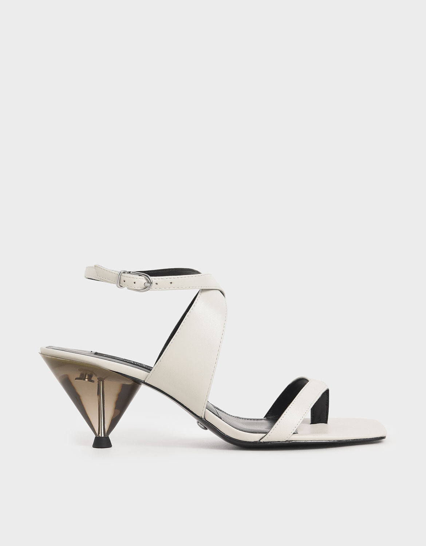 Leather Cone Heel Sandals
