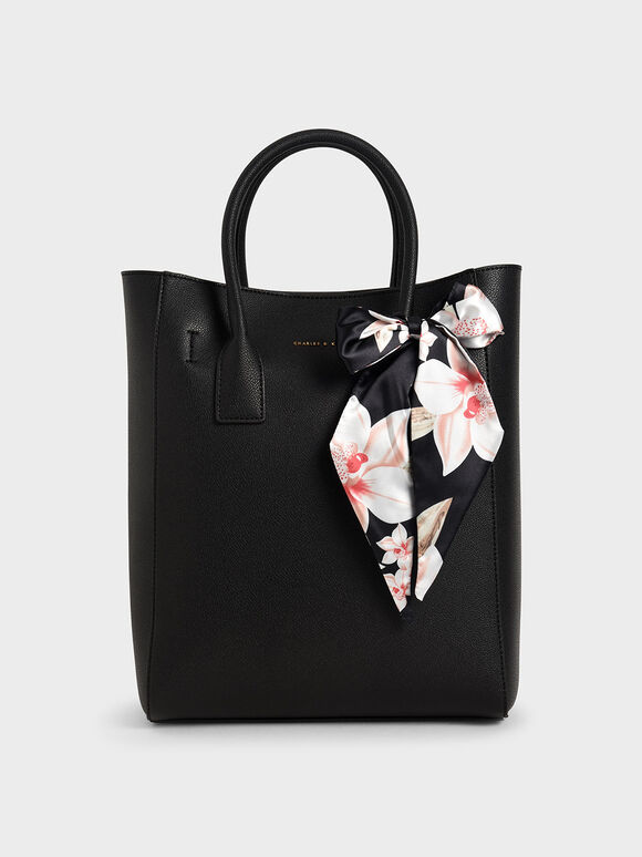 Chiffon Scarf Tote Bag, Black, hi-res
