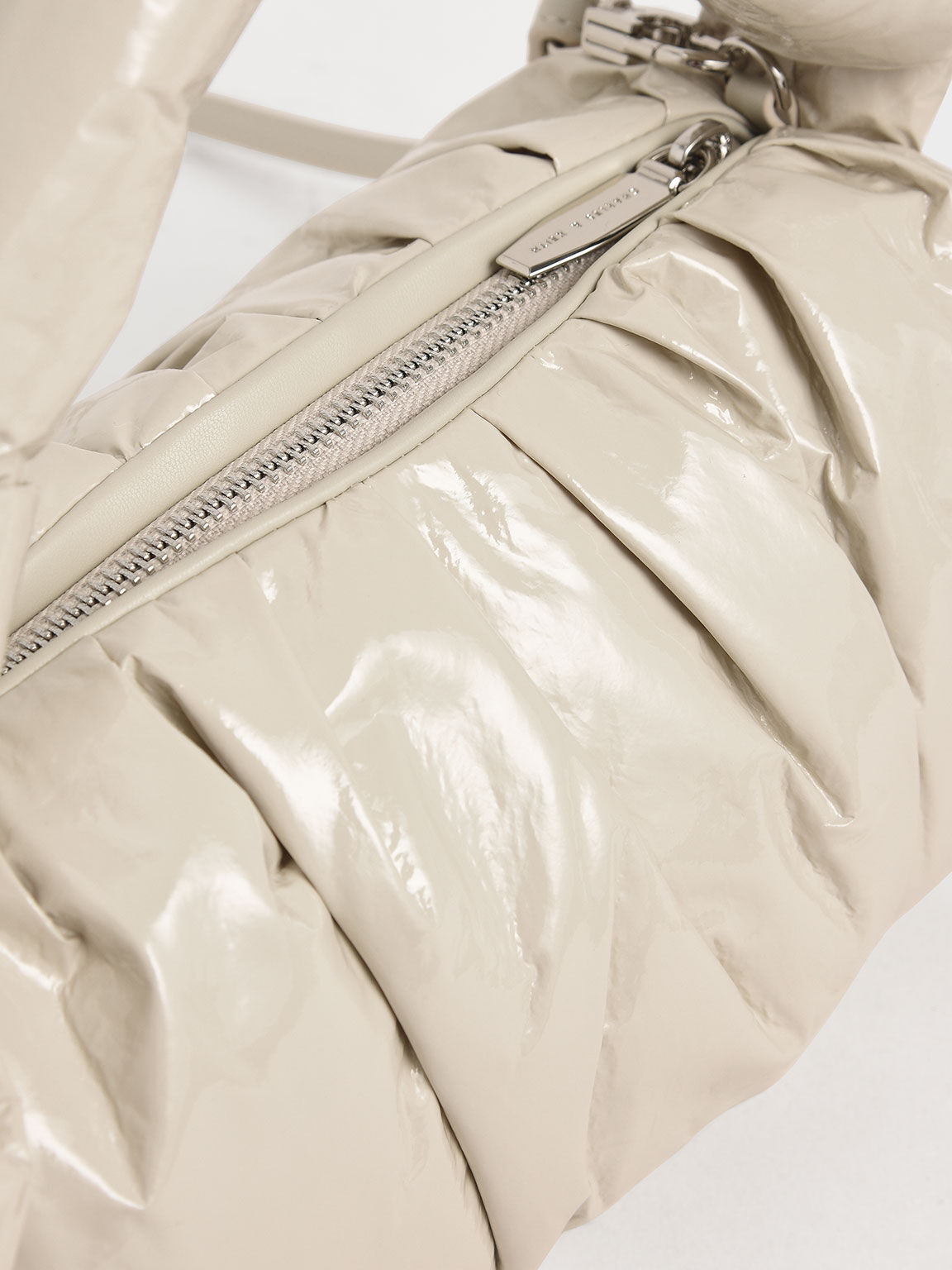 Patent Knotted Shoulder Bag, Beige, hi-res