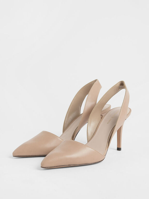 Thick Slingback Strap Heels, Nude