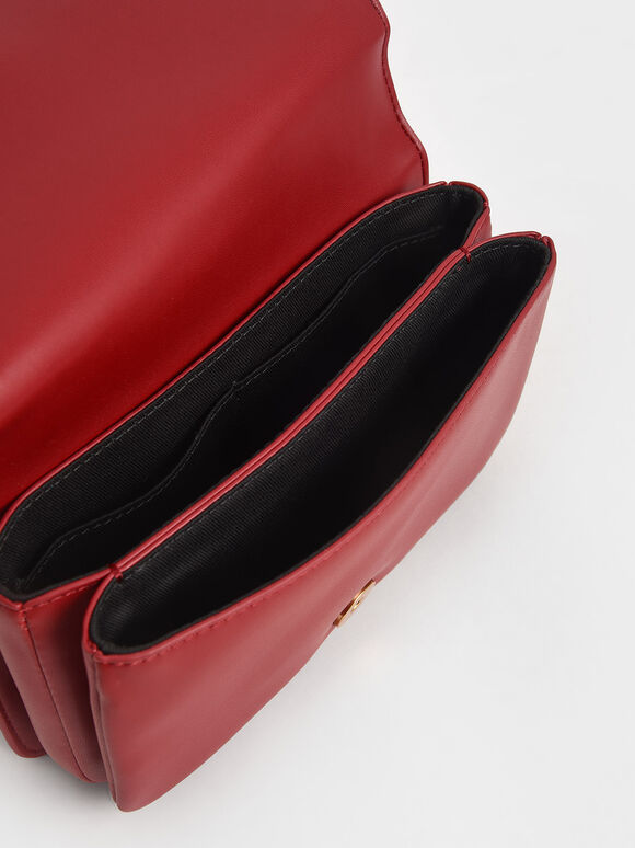 Beaded Handle Crossbody Bag, Red, hi-res