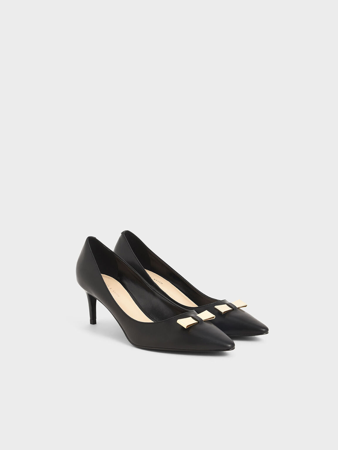 Metallic Bow Pumps, Black, hi-res