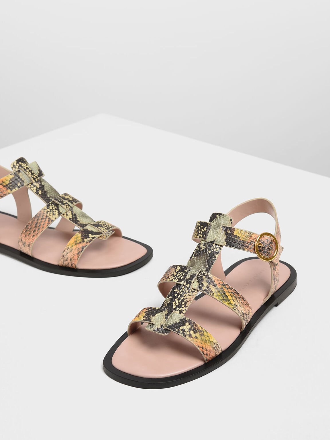 Snake Print Strappy Sandals, Multi, hi-res