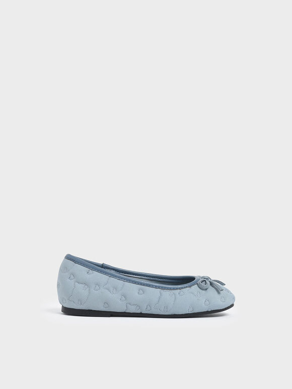 Girls' Cat Print Satin Ballerinas, Light Blue, hi-res