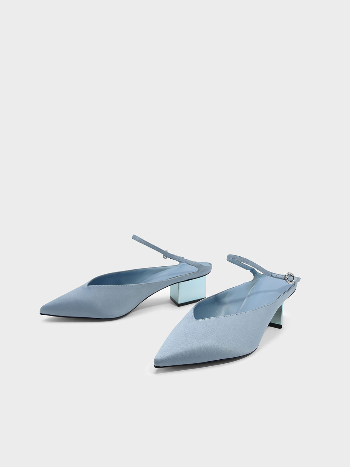 Metallic Heel Mules, Blue, hi-res