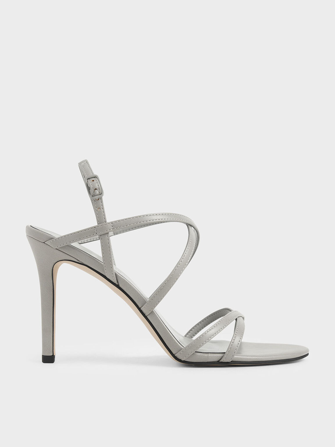 Criss Cross Strappy Stiletto Heels, Light Grey, hi-res