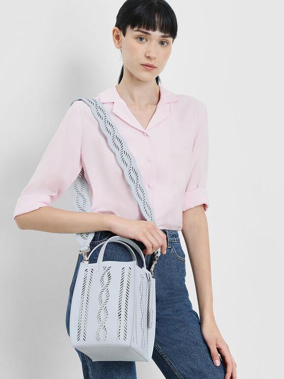 Laser Cut Bag Strap, Light Blue