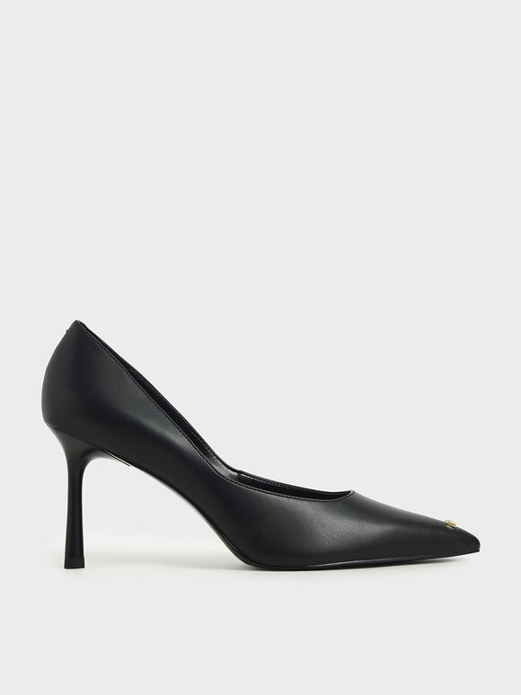 'Love' Metallic Accent Pumps, Black, hi-res