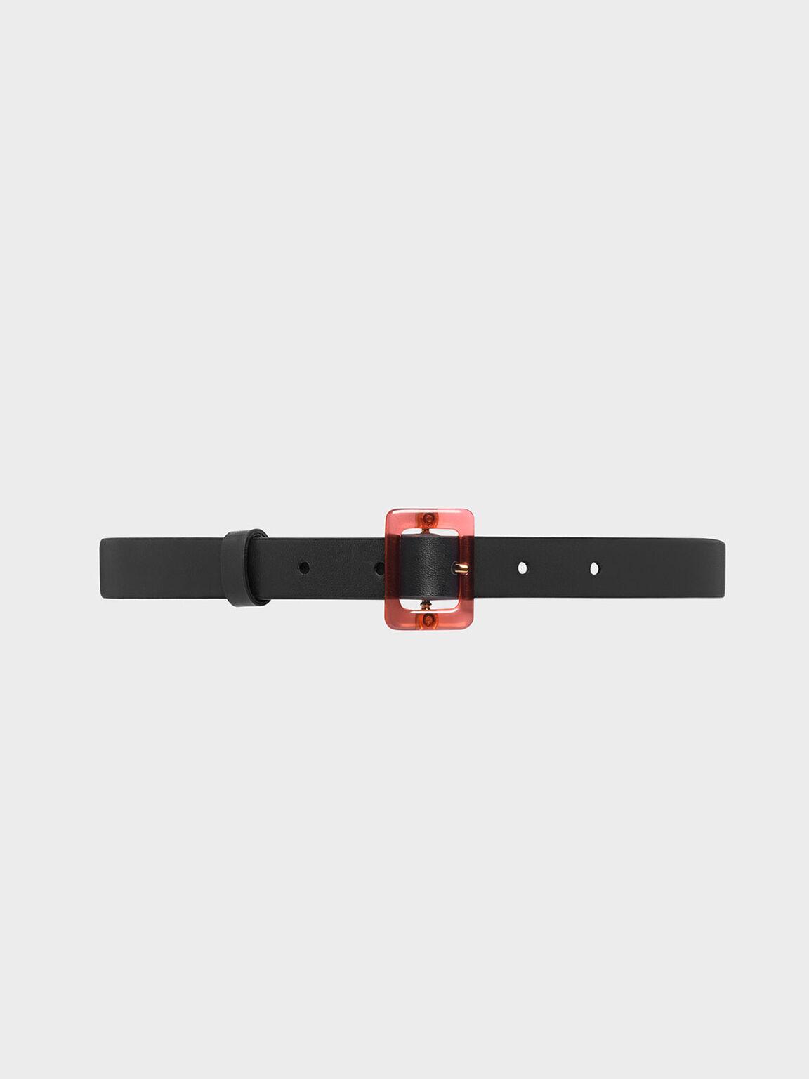 Oversized Acrylic Buckle Belt, Black, hi-res