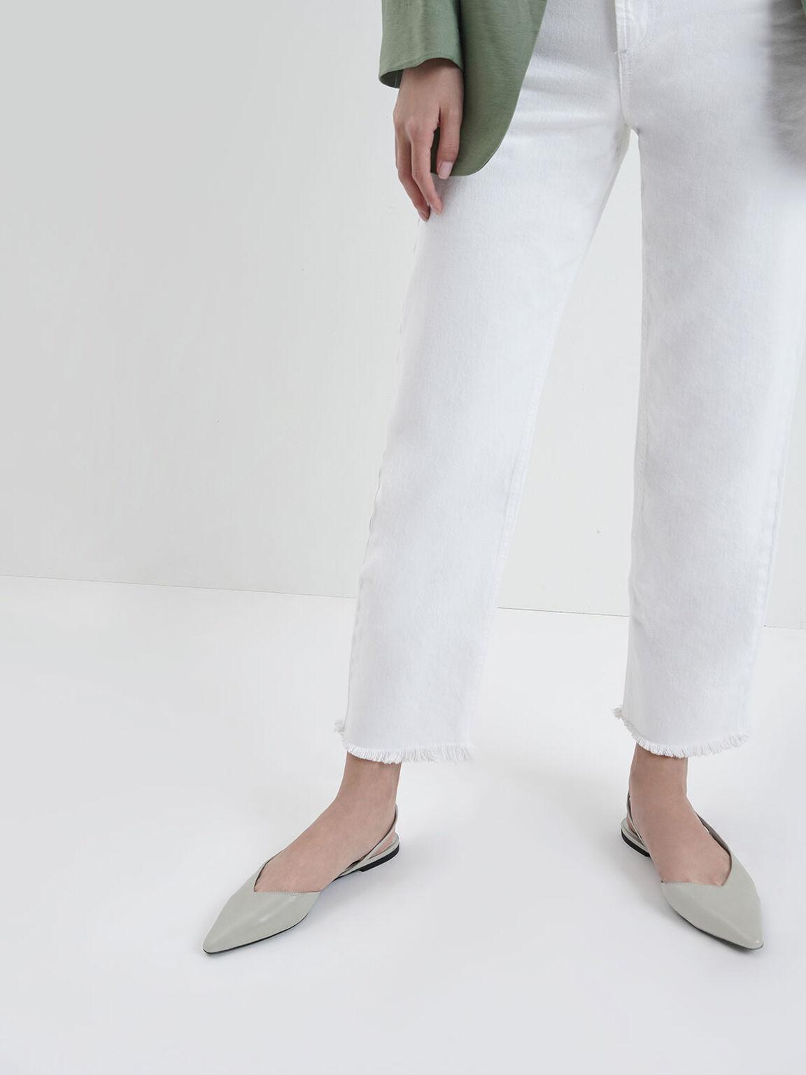 미니 스퀘어 토 애스메트리컬 슬링백 플랫, Light Blue, hi-res