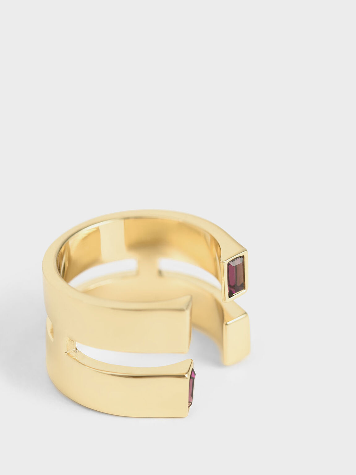 Swarovski® Crystal Double Band Open Ring, Gold, hi-res
