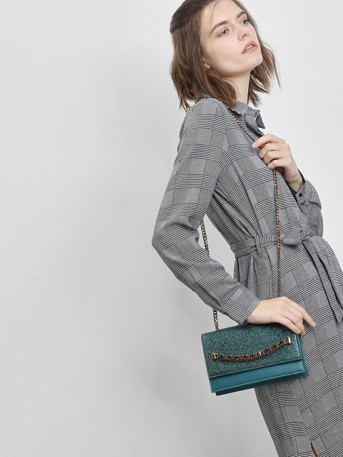 Chain Detail Front Flap Bag, Teal, hi-res