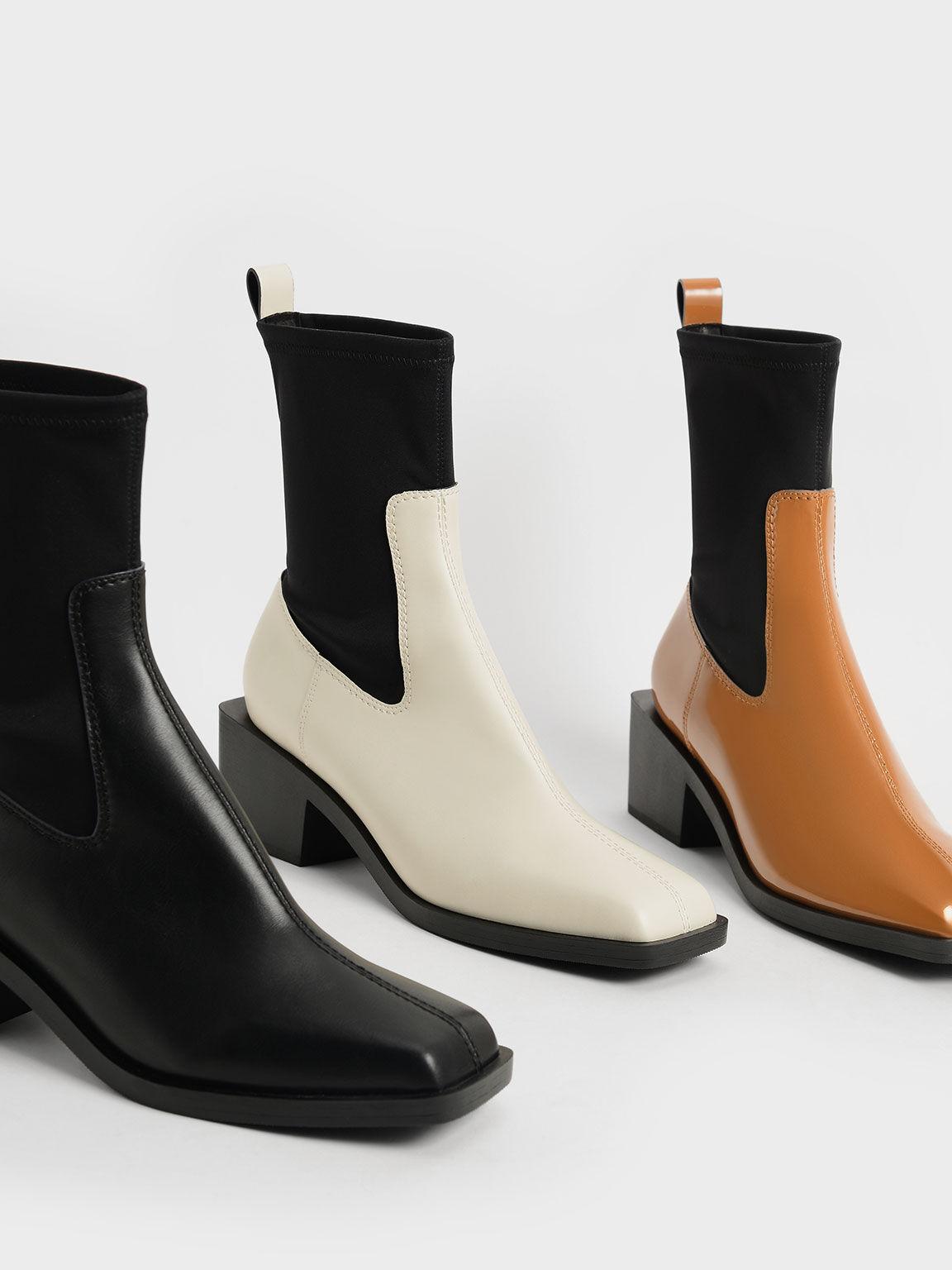 Two-Tone Sock Boots, Chalk, hi-res