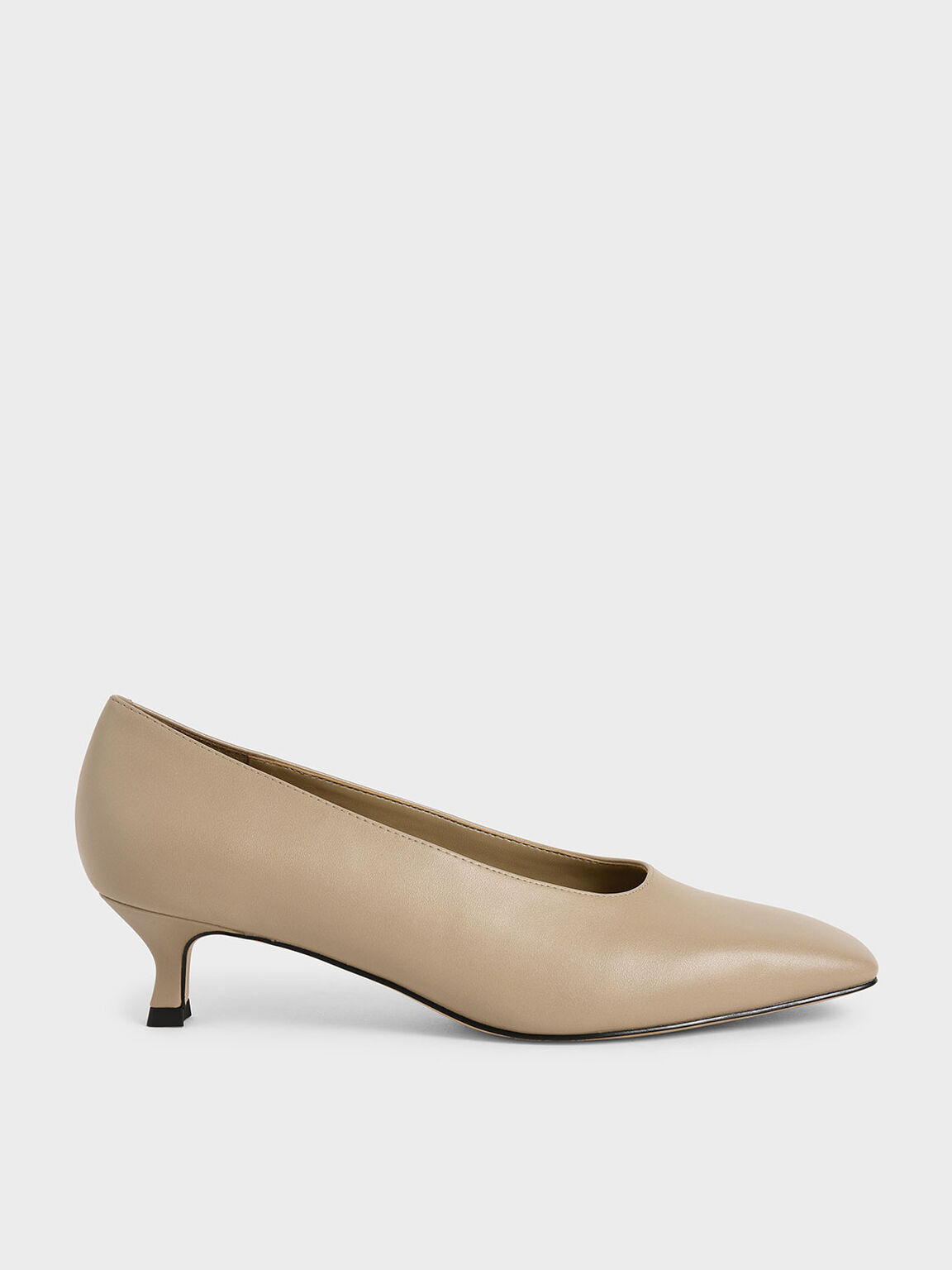 Square Toe Kitten Heel Court Shoes, Beige, hi-res