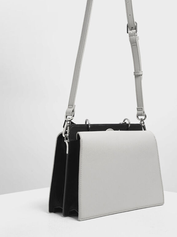 Velvet Bow Detail Top Handle Bag, Grey