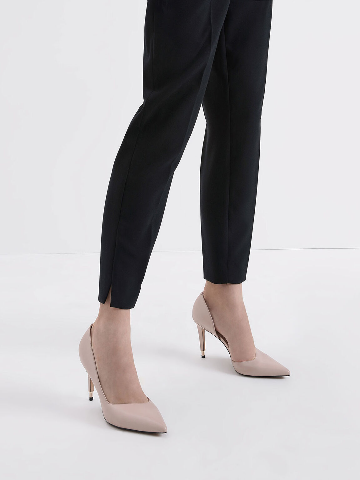 Leather D'Orsay Pumps, Nude, hi-res