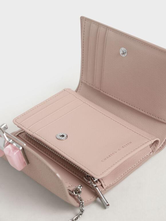 Stone-Embellished Mini Wallet, Pink, hi-res