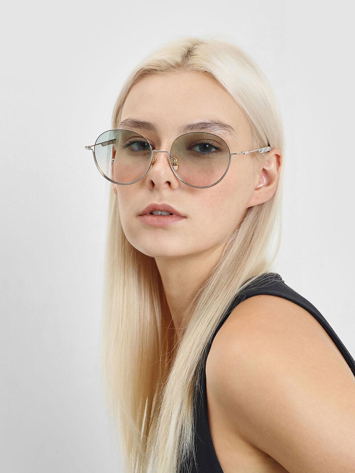 Half Frame Round Sunglasses, Silver, hi-res