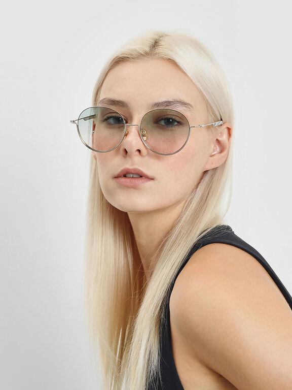 Half Frame Round Sunglasses, Silver