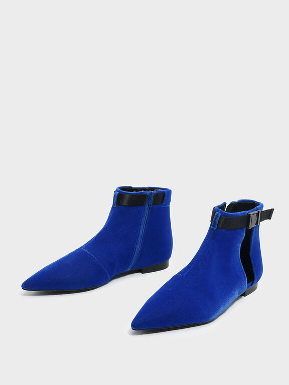 Latch Lift Buckle Pointed Boots, Blue