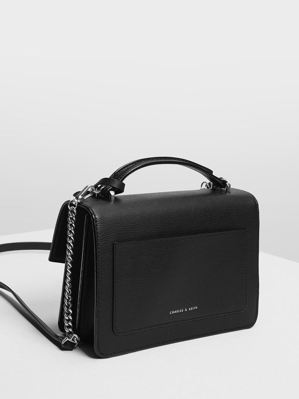 Single Flap Crossbody Bag, Black, hi-res