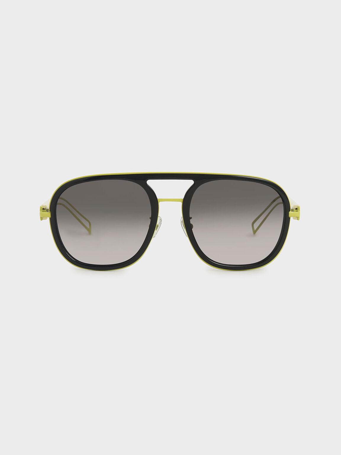 粗框飛行員墨鏡, 黑色, hi-res