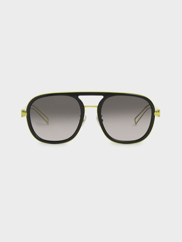 Double Bridge Sunglasses, Black, hi-res