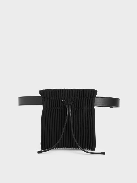 Neoprene Drawstring Belt Bag, Black, hi-res
