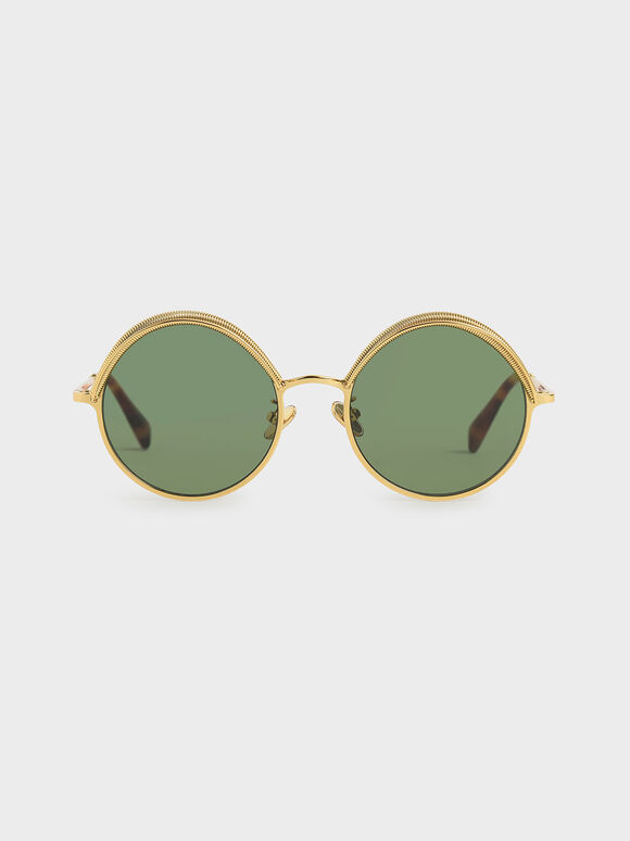 Half Rim Round Sunglasses, Green, hi-res