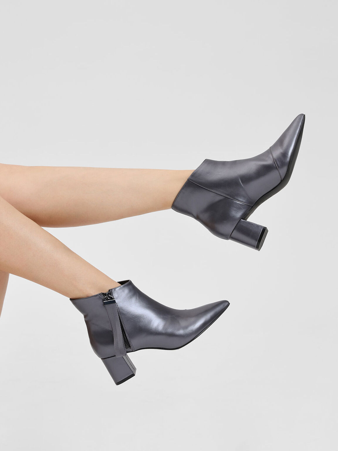 皮環拉鍊踝靴, 金灰色, hi-res