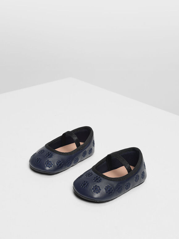 Kids Floral Embroidery Mary Janes, Dark Blue, hi-res