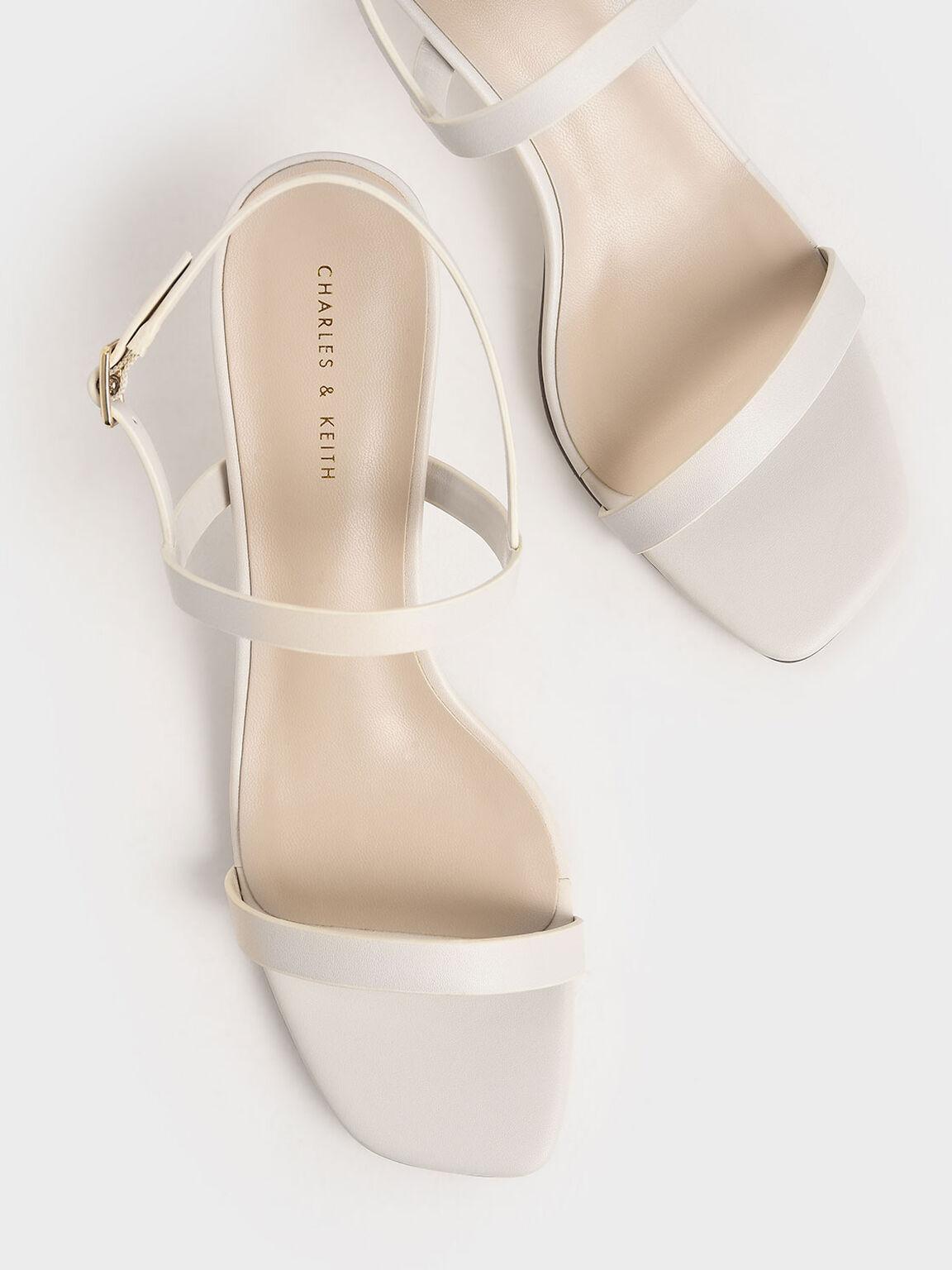 Metallic Ankle Strap Sandals, Chalk, hi-res