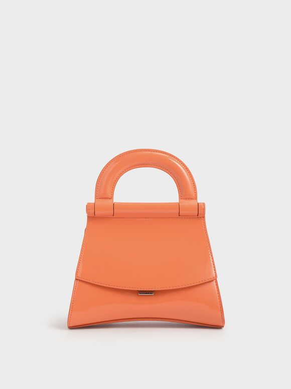 Patent Top Handle Bag, Orange, hi-res